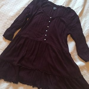 Aerie Purple Peasant Tiered Tunic Top